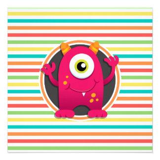 Monstro vermelho Listras brilhantes do arco-íris Convite