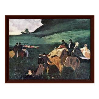 Montada em uma paisagem por Edgar Degas Cartao Postal