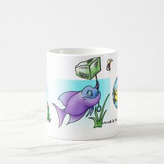 Montagem dos peixes dos desenhos animados caneca