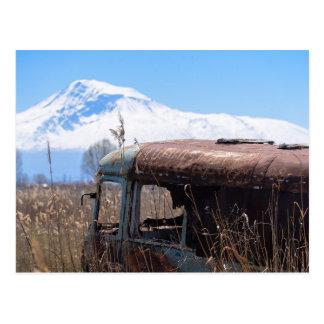 Montanha de Ararat e cartão oxidado do ônibus