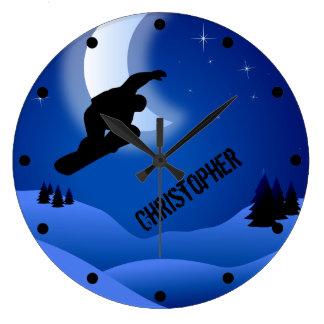 Montanha e lua personalizadas da snowboarding da relógio grande