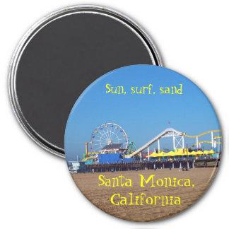 Montanha russa da praia de Santa Monica, torta de  Ímã Redondo 7.62cm