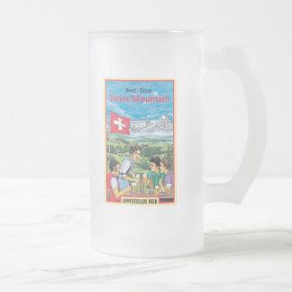 Montanha suíça caneca de cerveja vidro jateado