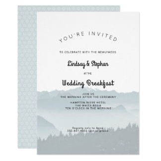 Montanhas enevoadas que Wedding o convite do