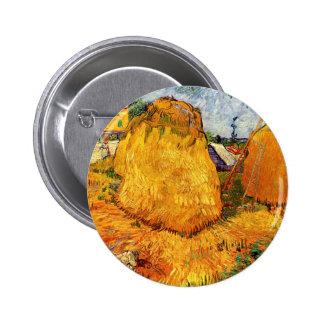 Monte de feno de Van Gogh em Provence, belas artes Bóton Redondo 5.08cm
