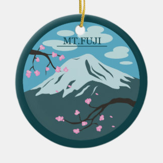Monte Fuji Ornamento De Cerâmica Redondo