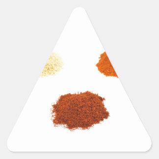 Montões de diversos especiarias do tempero no adesivo triangular