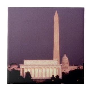 Monumento de Washington, o Capitólio e Jefferson Azulejo Quadrado Pequeno