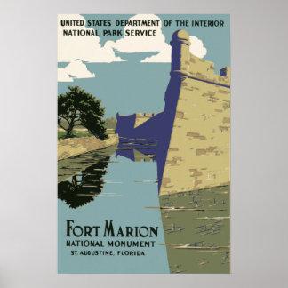 Monumento nacional St Augustine Florida de Marion Pôster