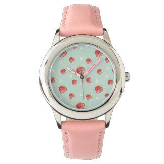 Morango e flores de Kawaii Relógio De Pulso