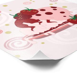 Morangos e arte do sorvete impressão de foto