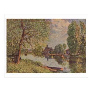 Moret-sur-Loing 1890 de Alfred Sisley Flußlandscha Cartão Postal