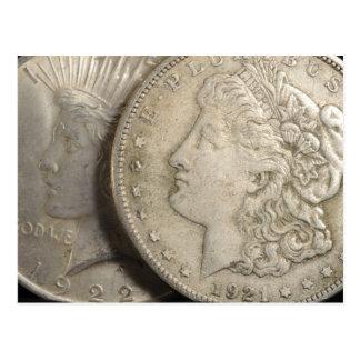 Morgan e cartão dos dólares de prata da liberdade