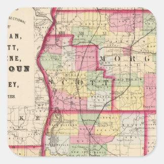 Morgan, Scott, Greene, Calhoun, condados do jérsei Adesivo Quadrado