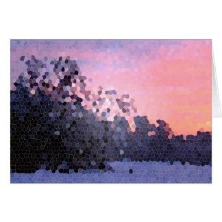 Mosaico abstrato das árvores do por do sol do inve cartão comemorativo