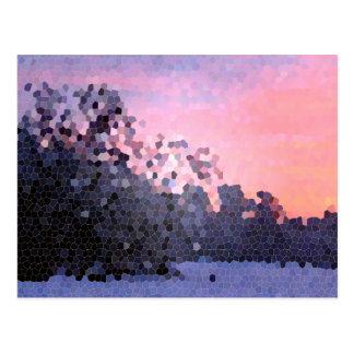 Mosaico abstrato das árvores do por do sol do inve cartão postal