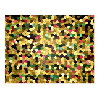Mosaico abstrato do verde do rosa do ouro do cartão postal