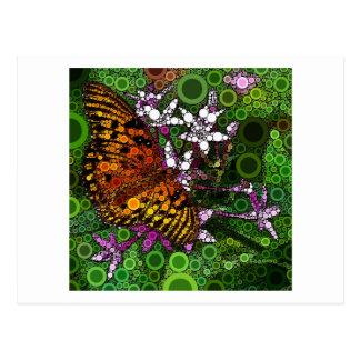 Mosaico alaranjado da borboleta cartão postal