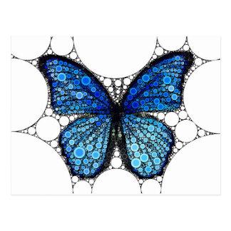 Mosaico azul da borboleta cartão postal