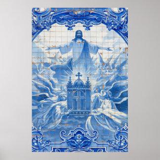 Mosaico azul do azulejo de jesus, Portugal Pôster