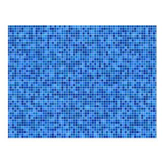 Mosaico azul do pixel cartão postal