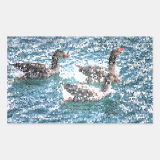 Mosaico azul do vitral do lago geese abstratos adesivo retangular