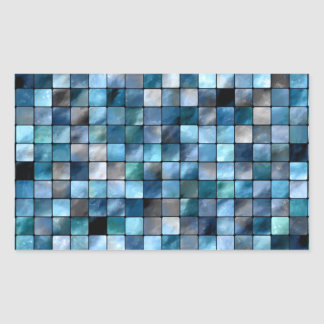 Mosaico azul dos azulejos adesivo retangular