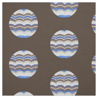 Mosaico azul redondo tecido de algodão penteado