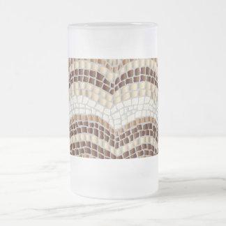 Mosaico bege caneca do vidro de fosco de 16 onças