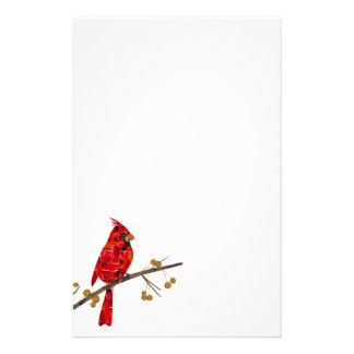 Mosaico cardinal vermelho papelaria
