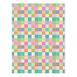 Mosaico colorido quadrado abstrato cartoes postais