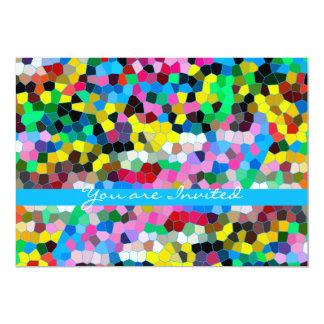 Mosaico cor-de-rosa azul colorido do vitral convite