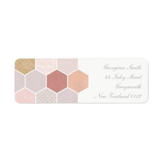 Mosaico cor-de-rosa etiqueta endereço de retorno