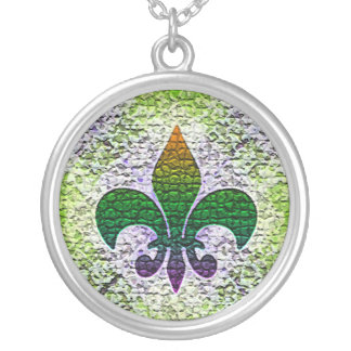 Mosaico da flor de lis colar banhado a prata