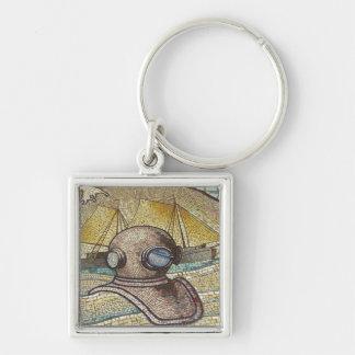 Mosaico do capacete velho dos mergulhadores chaveiros