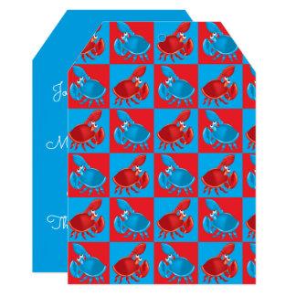 Mosaico do caranguejo dos desenhos animados convite 12.7 x 17.78cm