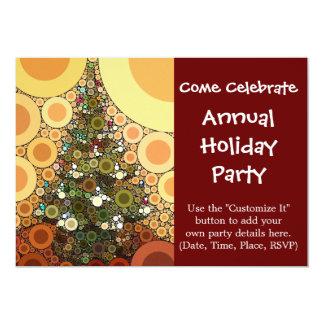 Mosaico do círculo da árvore de Natal boas festas Convite Personalizados