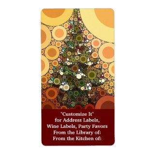 Mosaico do círculo da árvore de Natal boas festas Etiqueta De Frete