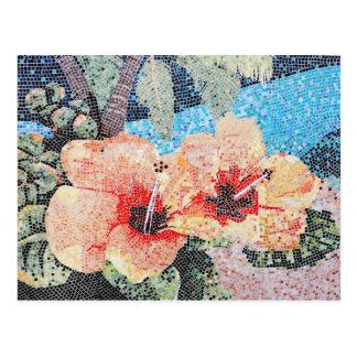 Mosaico do hibiscus cartão postal