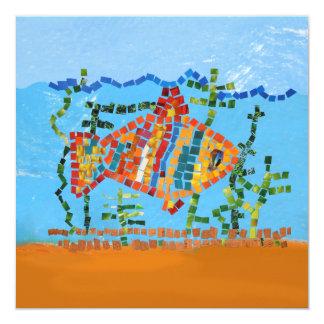 Mosaico dos peixes do ouro convites personalizados