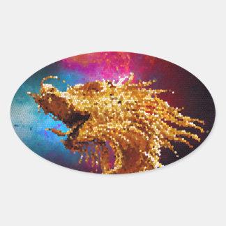 Mosaico dourado da galáxia do dragão do vitral adesivo oval