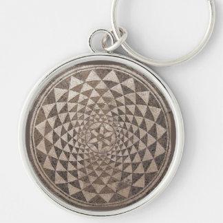 Mosaico geométrico de Zaragoza Salduba Chaveiro Redondo Na Cor Prata