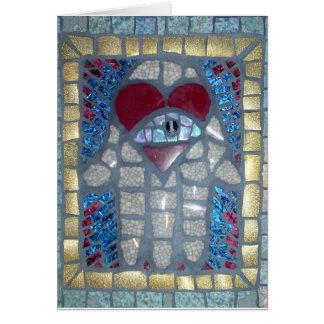 Mosaico Hamsa W/Heart e olho mau Cartão Comemorativo