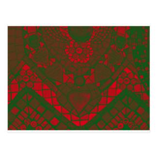 mosaico reverso verde vermelho cartão postal