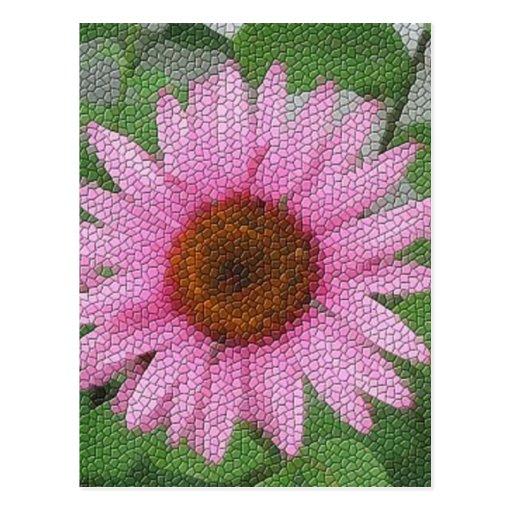 Mosaico roxo do coneflower cartões postais