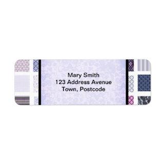 Mosaico roxo e branco etiqueta endereço de retorno