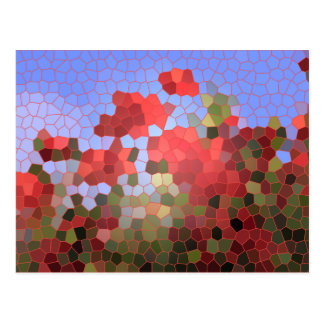 Mosaico vermelho abstrato do vitral do céu azul cartão postal