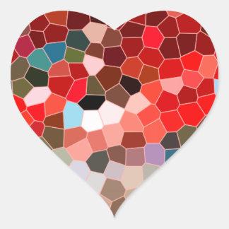 Mosaico vermelho de Borgonha Brown do vitral Adesivo De Coração