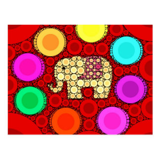 Mosaico vermelho Funky dos círculos concêntricos Cartão Postal