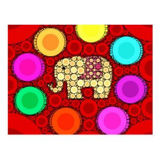 Mosaico vermelho Funky dos círculos concêntricos d Cartões Postais